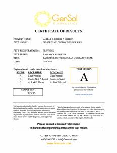 T-Bird Centronuclear Myelopathy Certification